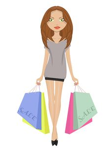 Free Girl With Sale Bags Stock Image - 18156671