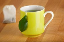 Free Mug Of Organic Green Tea And Teabag Stock Photos - 18157663