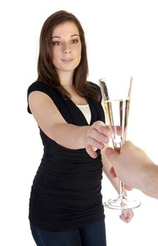 Woman With Champagne Stock Images