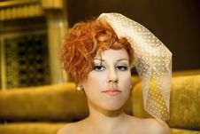 Free Luxurious Girl With Red Hairs. Veil Royalty Free Stock Images - 18158199
