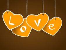 Free Hanging Hearts With Love Signature. Stock Image - 18158671