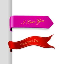 Free Set Of Valentine S Day Ribbons. Stock Image - 18158741