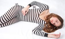 Free Pretty Teen In Zebra Bodysuit With Toy Zebras Stock Photos - 18158833