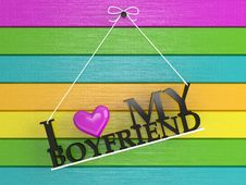 Free Colored Wall Labeled - I Love My Boyfriend Stock Images - 18159184