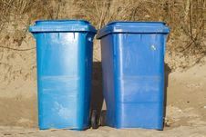 Free Blue Wheelie Bins. Stock Images - 18159874