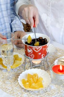 Free Chocolate Fondue For Two Stock Photos - 18159893