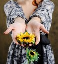 Free Woman With Sunflower Stock Images - 18165154