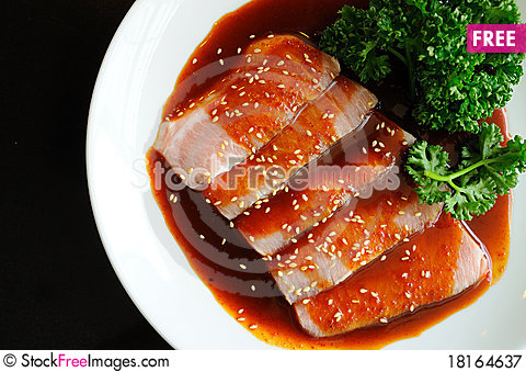Free Red Pork And Sauce Royalty Free Stock Photography - 18164637