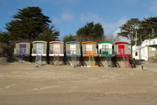 Free Municipal Beach Huts. Royalty Free Stock Photography - 18160777