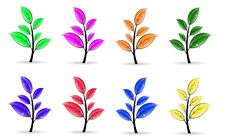 Free Set Of Colorful Floral Elements Royalty Free Stock Photo - 18160975