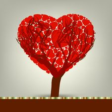 Free Stylized Love Tree Made Of Hearts. EPS 8 Stock Images - 18162344