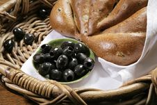 Free Chiabatta With Olives On Bakery Basket Stock Image - 18162961
