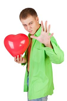 Free Guy Holding A Red Heart Stock Images - 18163724