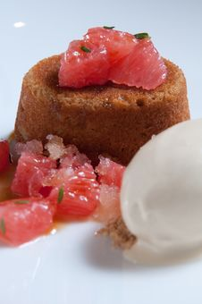 Brown Sugar Cake With Fresh Grapefruit Royalty Free Stock Photo