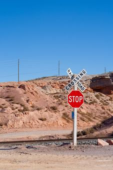 Free Railroad Crossing With Stop Sign Stock Image - 18164141