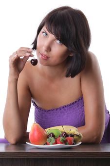 Free Cheerful Woman Eating Fruit And Berrie Royalty Free Stock Photo - 18164565