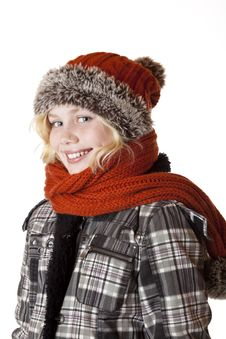 Free Young Blond Girl With Winter Cap And Jacket Stock Photos - 18164823