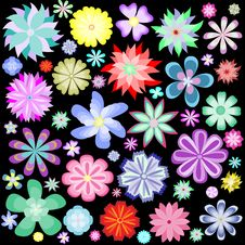 Free Pattern Of Colorful Flowers Royalty Free Stock Photo - 18165115