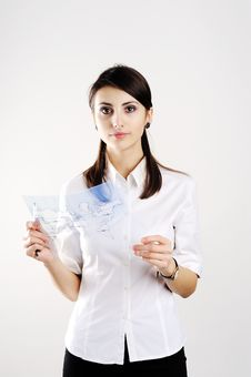 Free Girl With Map Stock Photos - 18165273