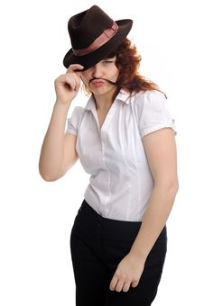 Free Girl With Moustaches Royalty Free Stock Photos - 18165418