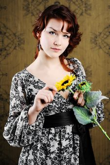 Free Woman With Sunflower Royalty Free Stock Photography - 18165487