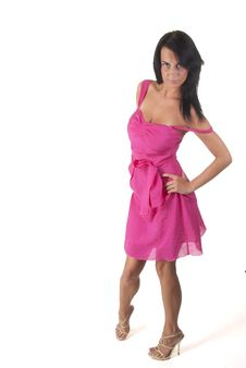 Beautiful Lady In Pink Dress Stock Photo
