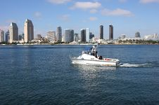 Free San Diego Skyline And A Patrol Boat. Stock Photography - 18165882