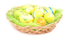 Free Easter Basket With Painted Eggs Royalty Free Stock Photography - 18166337
