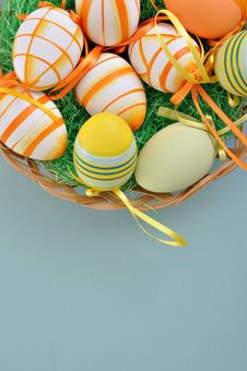 Free Colorful Easter Eggs On Basket Royalty Free Stock Images - 18166399