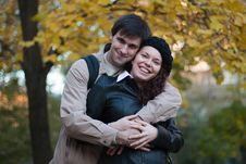 Free Male And Female In Autumn Park Royalty Free Stock Photos - 18166548