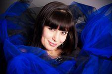 The Brunette In Dark Blue Stock Photography