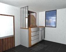 3D Interior Of A Kitchen Stock Photo