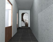 Free 3D Interior Of A Hallway Royalty Free Stock Image - 18168126