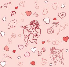 Free Seamless Cupid Pattern Stock Photography - 18168142
