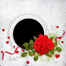 White Frame With Red Roses On The White Background Stock Photo
