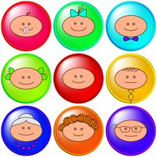 Funny Faces, Buttons Royalty Free Stock Image