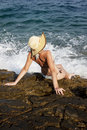 Free Woman With Hat Sunbathing Royalty Free Stock Photos - 18172568