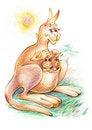 Free Illustration Of Mother Kangaroo With Kids Royalty Free Stock Photo - 18176985