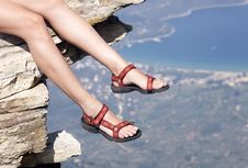 Woman With Trekking Sandals Stock Images