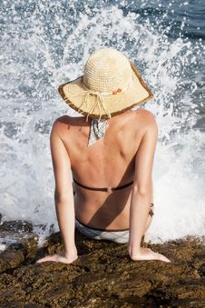 Free Woman With Hat Sunbathing Stock Images - 18172554