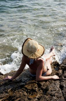 Free Woman With Hat Sunbathing Royalty Free Stock Photo - 18172565