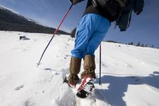 Hiker In Winter In Mountains Royalty Free Stock Photography