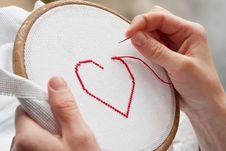 Heart Embroidery Stock Photos