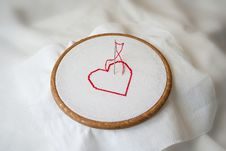 Red Heart On Wooden Tambour Royalty Free Stock Photography