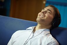 Free Man With Headphones Listening To Music Stock Image - 18173831