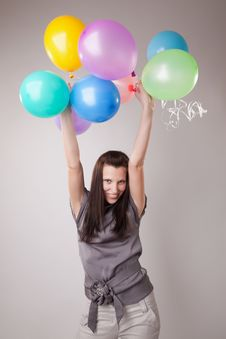Young Slim Woman With Balloons. Stock Photography