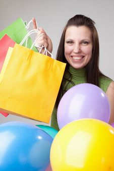 Young Slim Woman With Balloons. Royalty Free Stock Image