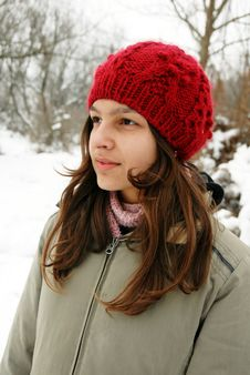 Free Teenage Girl In Red Cap Portrait Stock Image - 18175561