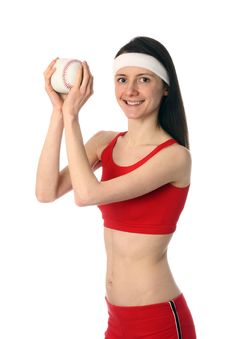 Free Happy Young Woman Exercising With A Small Ball Stock Image - 18175711