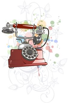 Free Vector Red Vintage Telephone & Floral Ornament Royalty Free Stock Image - 18176156